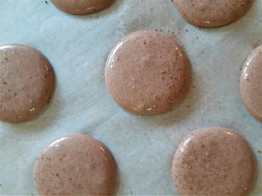 Piped vegan chocolate macaron shells before baking