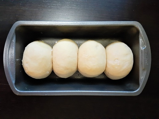 Very rich and buttery brioche mousseline, in the loaf pan, before baking