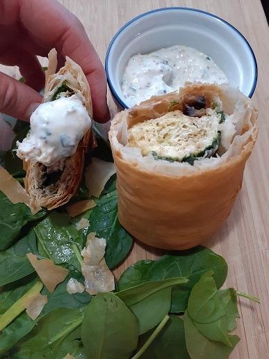 Phyllo breakfast burrito - mushrooms, scrambled eggs, spinach