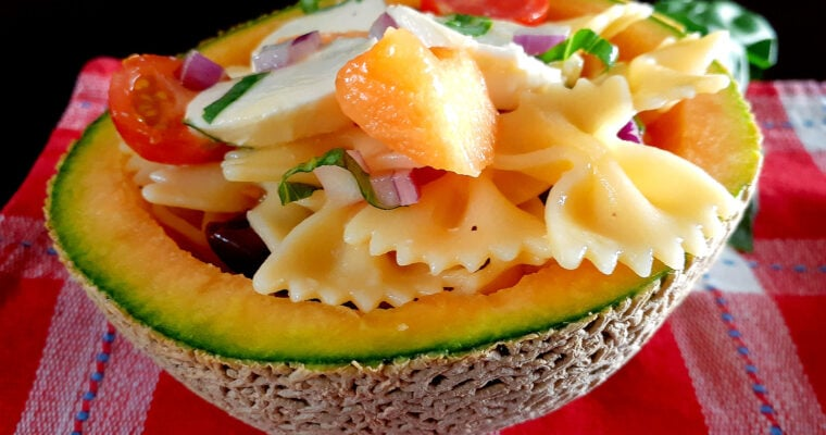 Pasta salad in a melon half