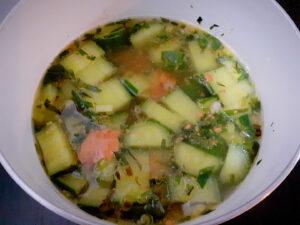Cucumber soup in a pot