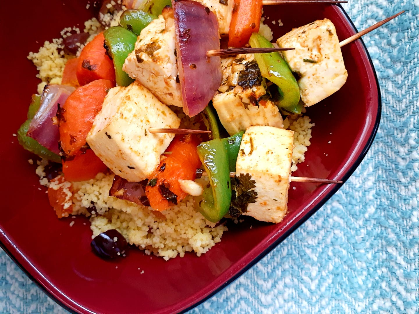 Moroccan Vegan Skewers And Couscous
