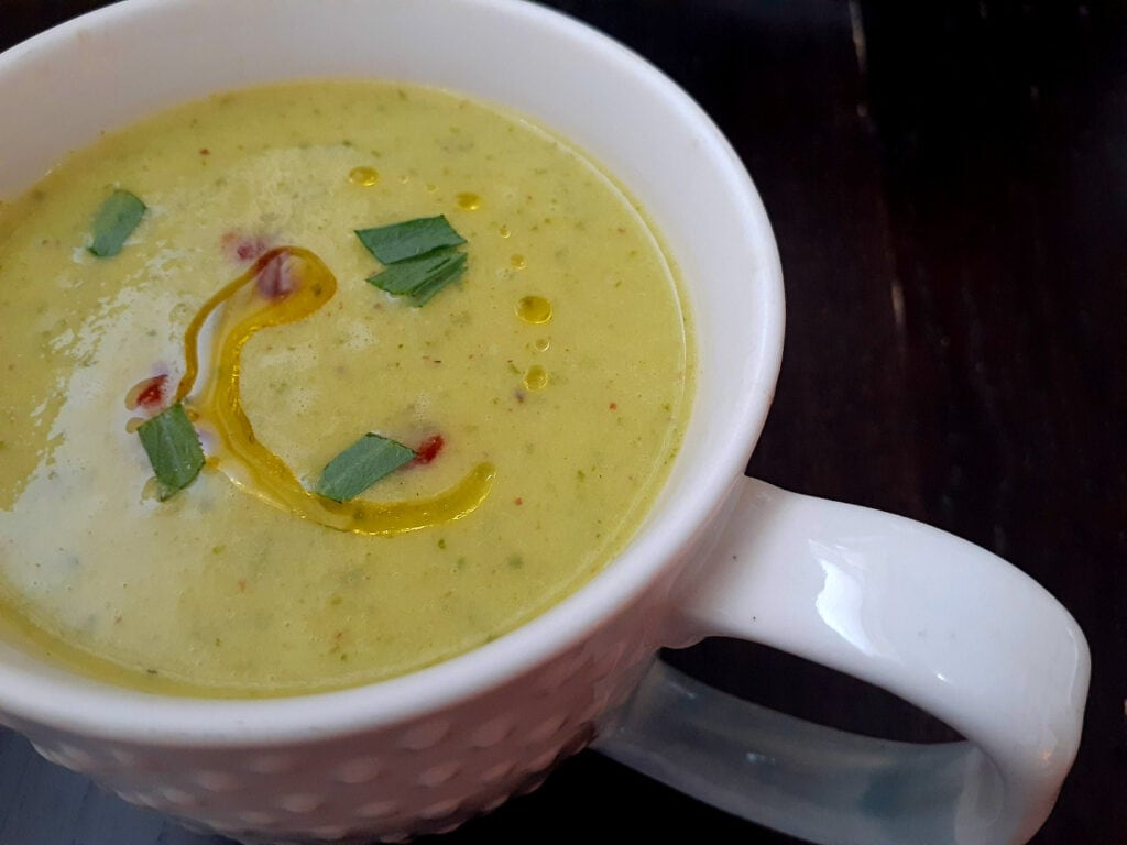 Refreshing vegan cold cucumber soup in a mug