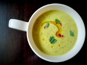 Cold cucumber and tarragon soup in a mug