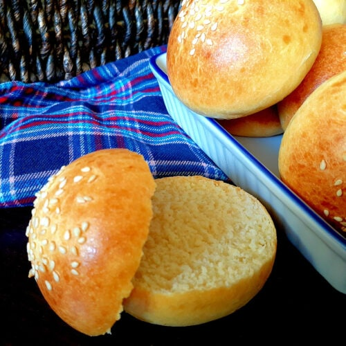 Brioche slider buns with one cut open