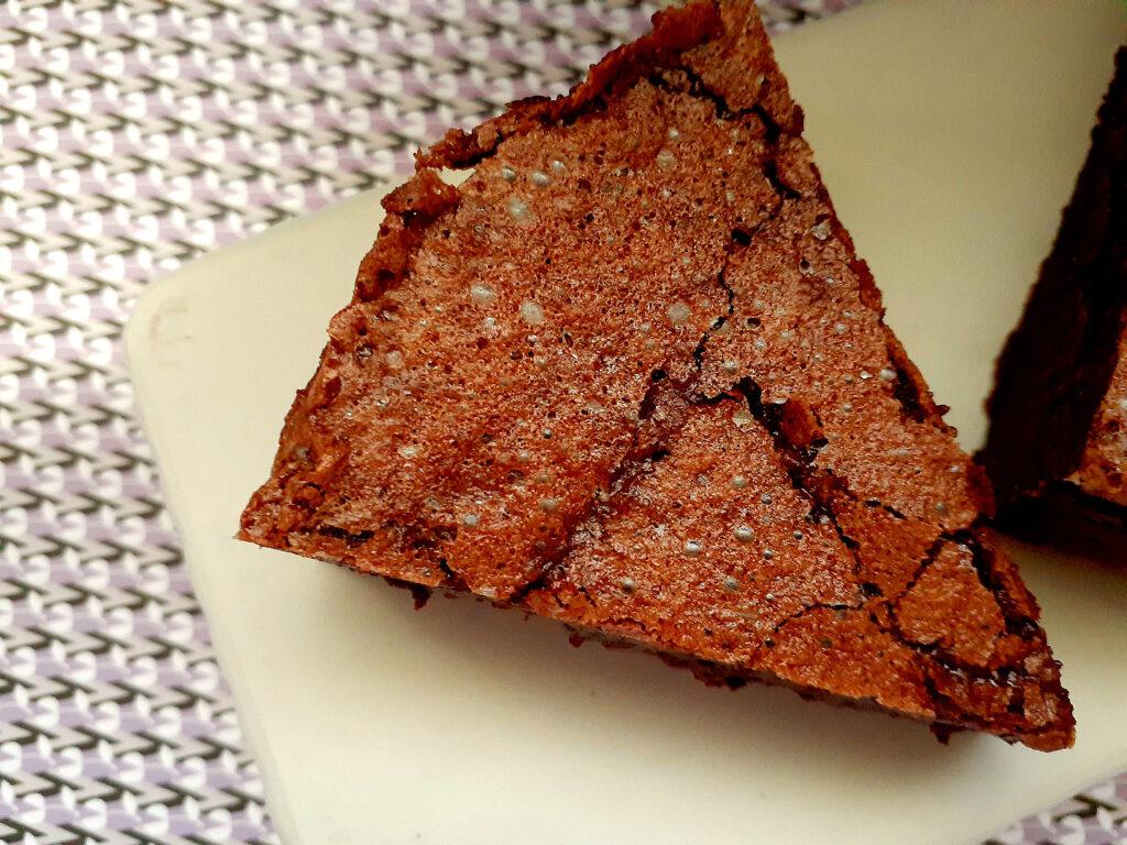 Slice of baked chocolate mousse cake