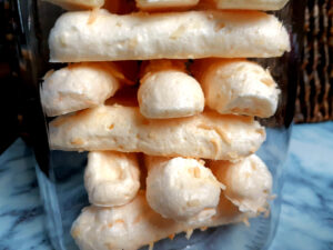 Coconut meringue sticks in a jar