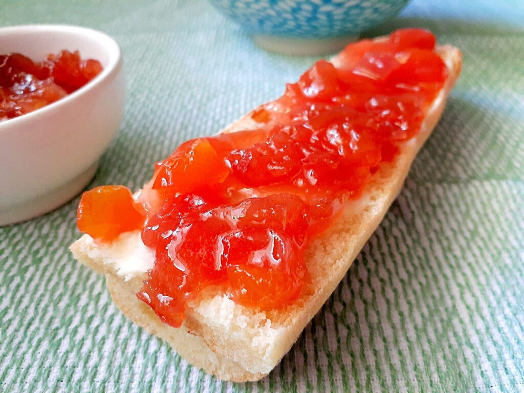 Baguette slice with butter and rhubarb jam