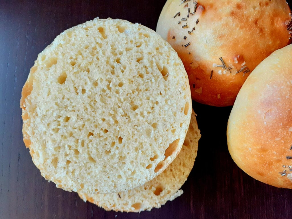 Brioche buns with one cut open