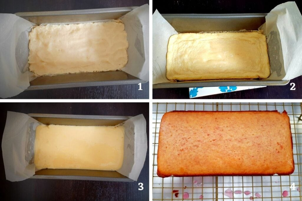 Baking process : first picture with the raw pastry dough in the mold, second picture with the baked pastry dough, third picture with the raw lemon sponge on top and fourth picture with the unmolded cake brushed with raspberry syrup.