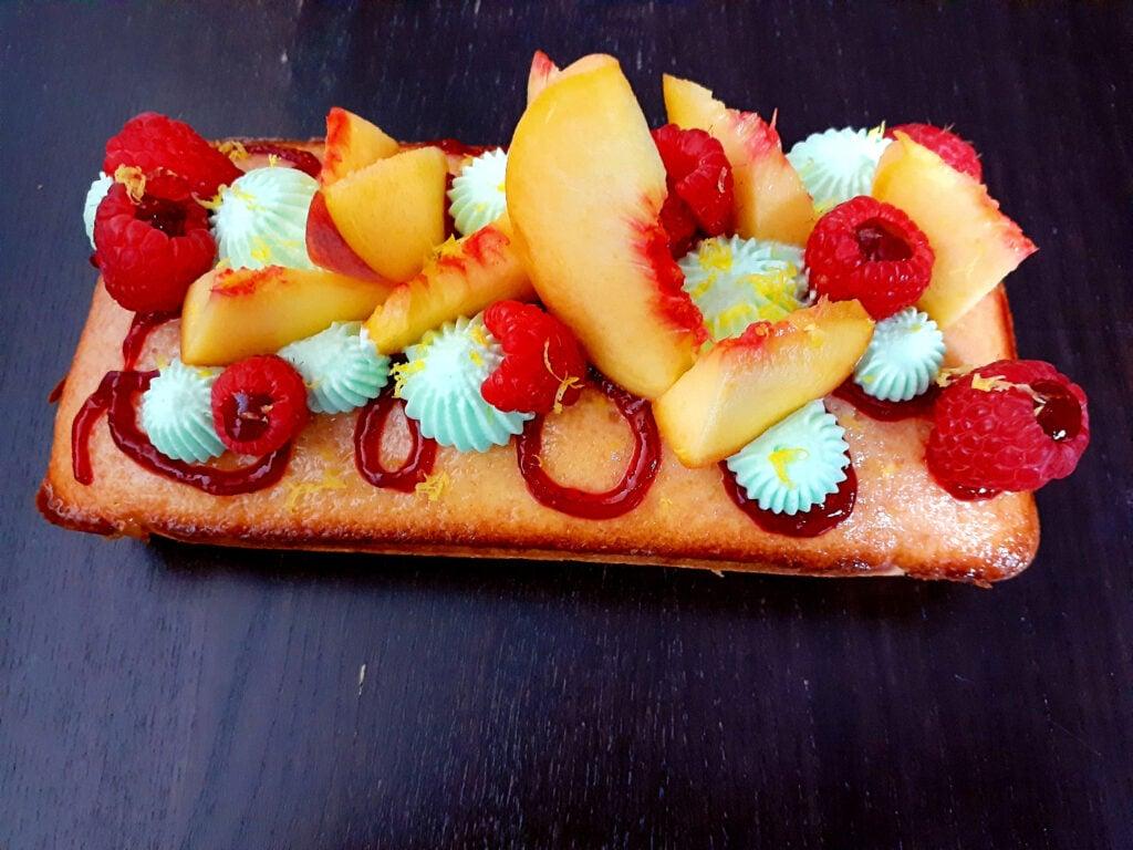 Peach, verbena and raspberry tart