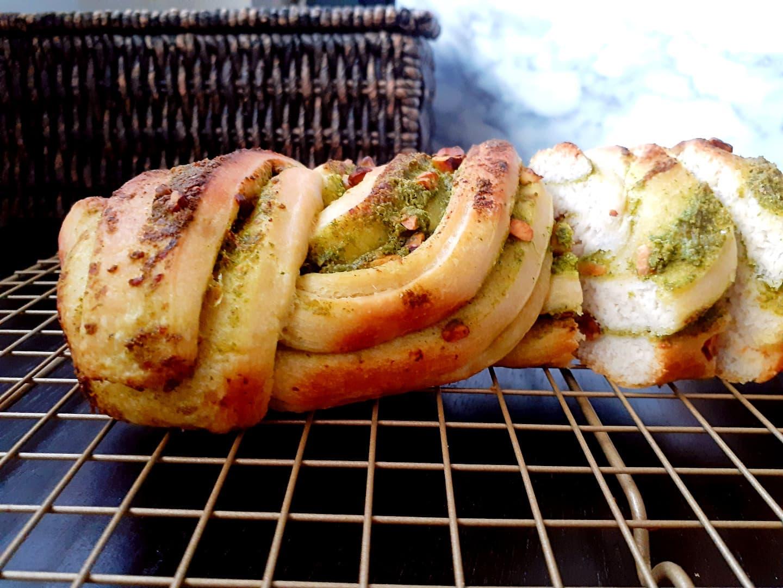 Savory Pesto And Pistachio Babka | Eggless