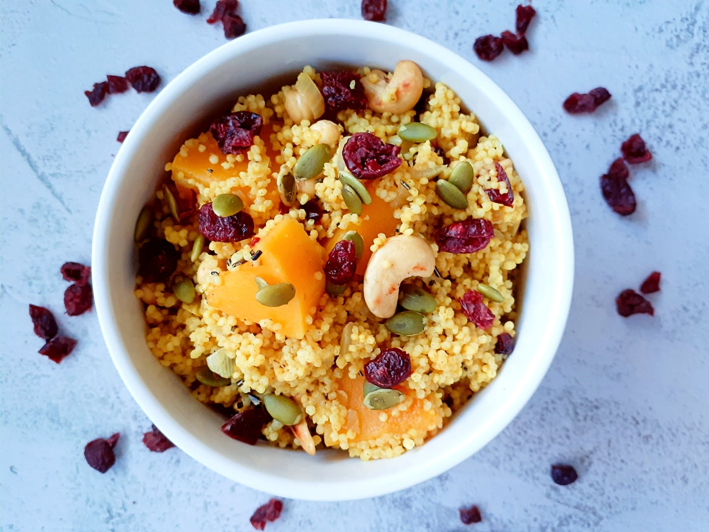 Millet Bowl with Butternut Squash and Dried Cranberries| GF
