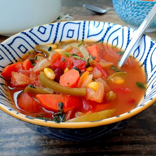 Mexican vegetable soup in a bowl
