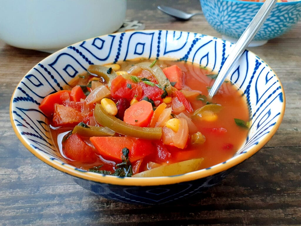 Mexican vegetable soup in bowls
