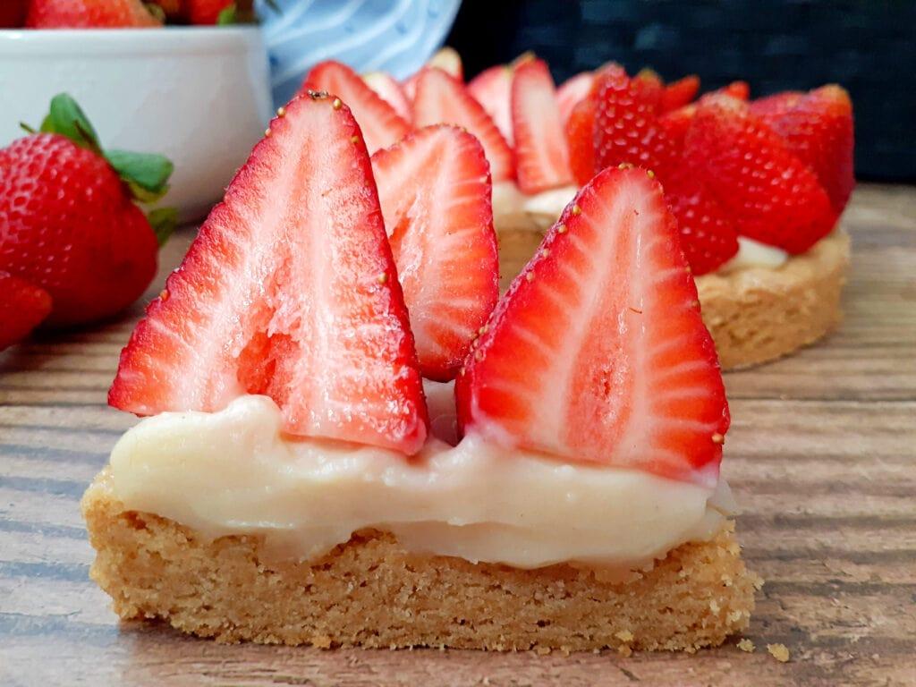 Slice of strawberry tart.