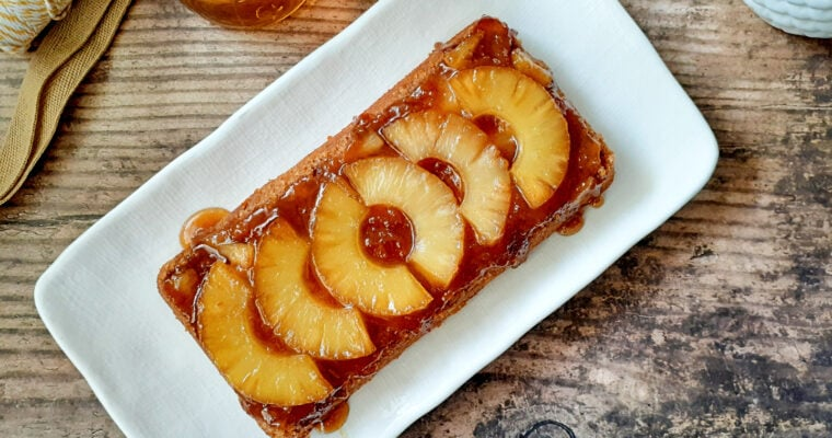 Pineapple upside down cake on a dish