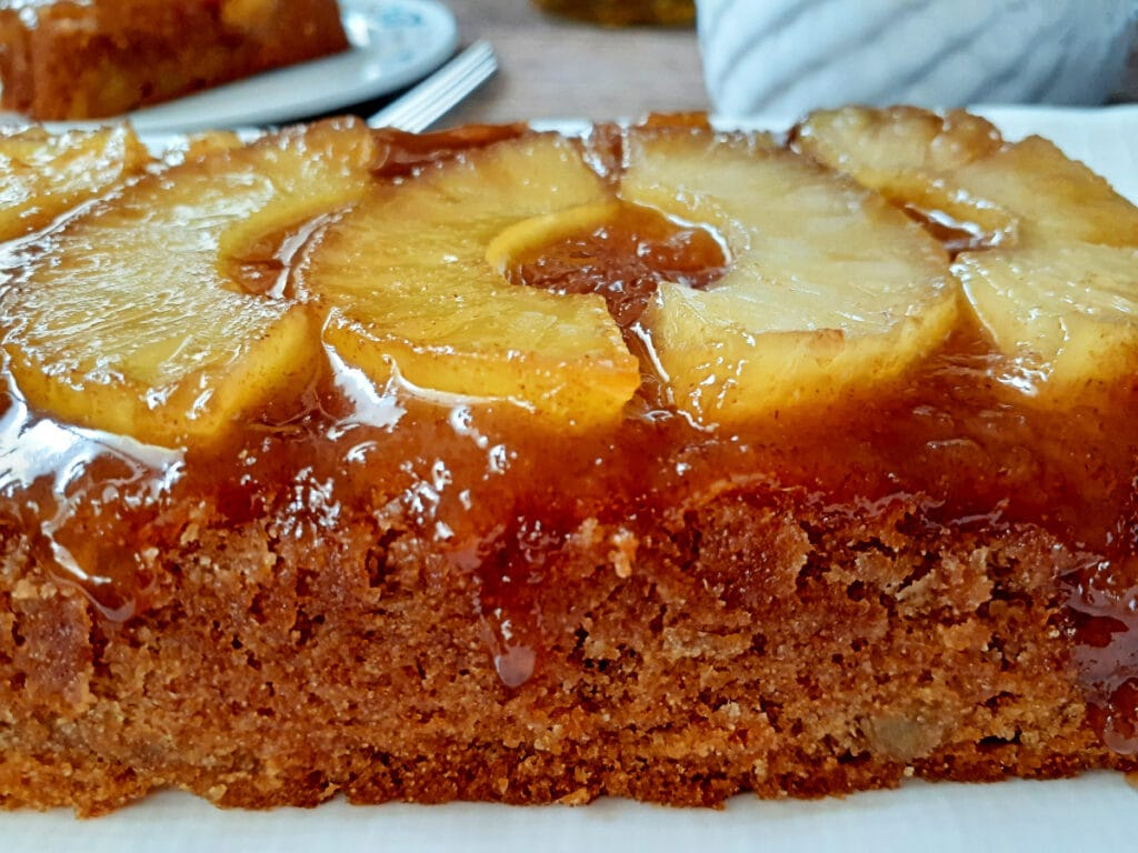 Vegan pineapple upside down cake close up